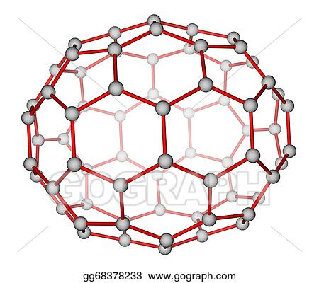 drawing fullerene c70 molecular structure clipart drawing