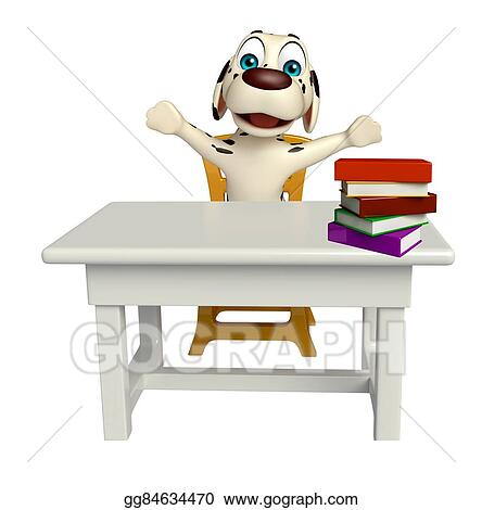 Peachy Stock Illustration Fun Dog Cartoon Character With Table Download Free Architecture Designs Scobabritishbridgeorg