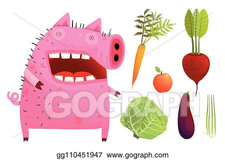 742cc1d5b5b70 EPS Vector - Fun pig eating smart vegetables isolated. Stock Clipart ...