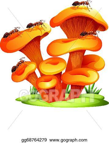 vector clipart fungi with ants vector illustration gg68764279 rh gograph com Grass Clip Art Cow Clip Art