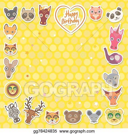 Vector Art - Funny animals happy birthday  yellow polka dot