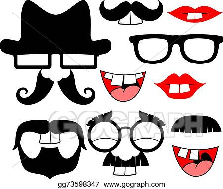vector stock funny black mustaches and lips stock clip art rh gograph com Lips Clip Art Transparent Background Kissy Lips Clip Art