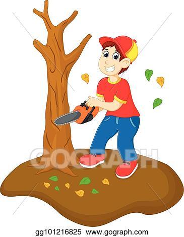Funny boy cartoon cutting tree with saw