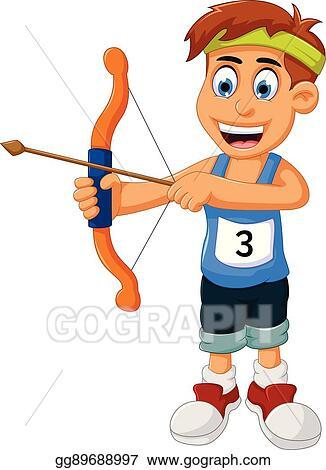 EPS Vector - Funny boy cartoon sports archery. Stock ...