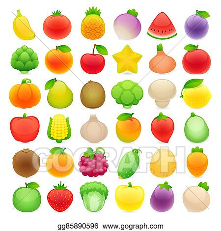 Vector Art Funny Cartoon Fruits And Vegetables With