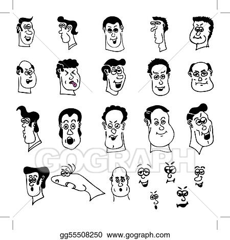 vector illustration - funny cartoon heads and faces. eps clipart