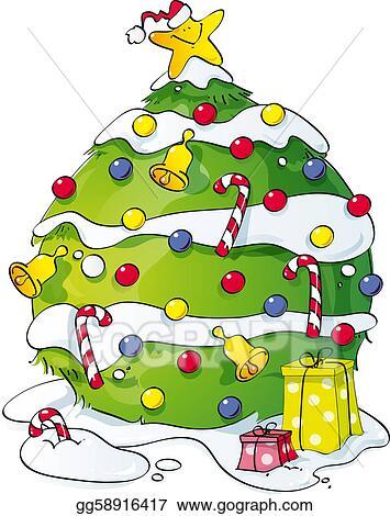 Christmas Humor Clip Art.Vector Clipart Funny Christmas Tree Vector Illustration
