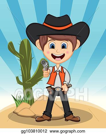 Vector Art Funny Cowboy With Background Cartoon Clipart Drawing Gg103810012 Gograph