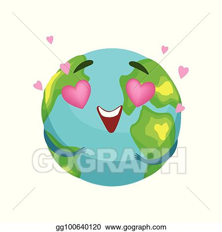 EPS Illustration - Funny earth planet character with pink