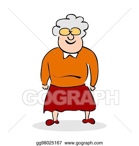 Funny Elderly Lady With Glasses Grandmother Standing Colorful Cartoon Vector Illustration On White Background