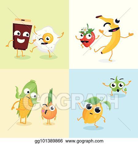 d35ecb0aad3b Vector Art - Funny food characters - set of modern vector ...