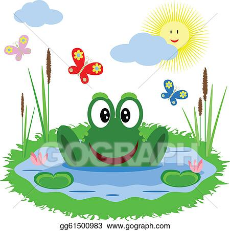 eps illustration funny frog is in the pond vector clipart rh gograph com Vector The Crocodile Frog Silhouette