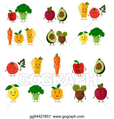 Vector Art Funny Fruits Set Cute Fruits And Vegetables