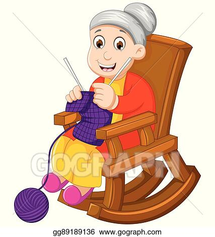 Vector Art Funny Grandmother Cartoon Knitting In A Rocking Chair