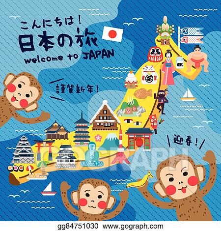 vector clipart funny japan travel map vector illustration