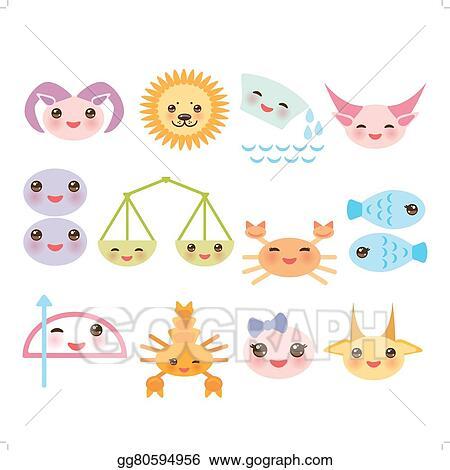 Vector Illustration - Funny kawaii zodiac sign, astrological