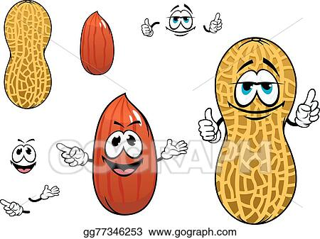 Eps Vector Funny Kernel And Pod Of Peanut Characters Stock