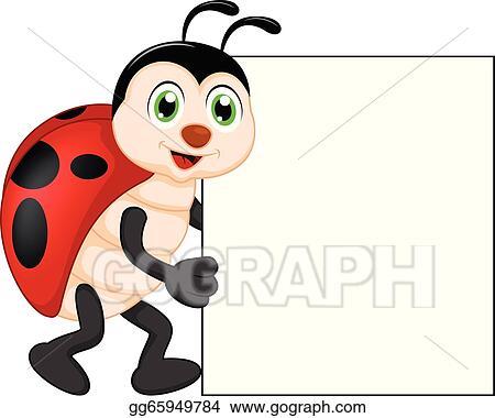 Funny Lady Bug Cartoon With Blank S