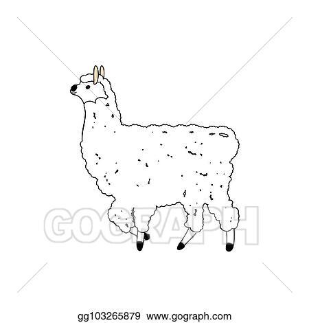 Vector Art Funny Llama Illustration On White Background