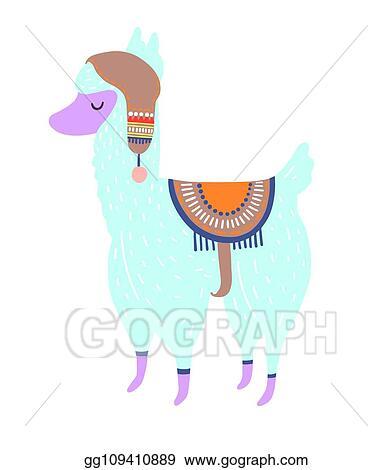 Vector Illustration Funny Llama Isolated On White Blue