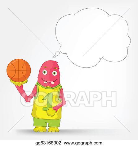 Vector Illustration Funny Monster Basketball Eps Clipart Gg63168302 Gograph