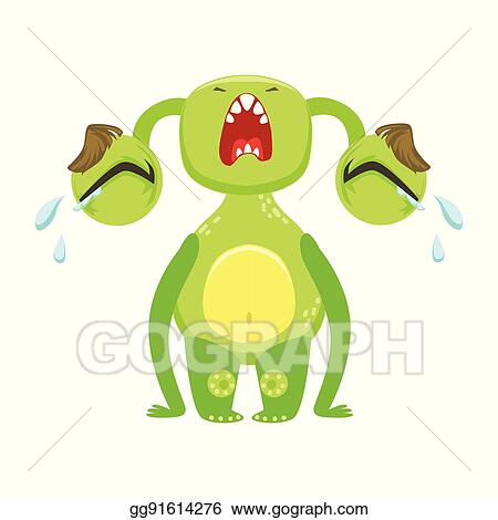 Vector Stock - Funny monster crying out loud, green alien