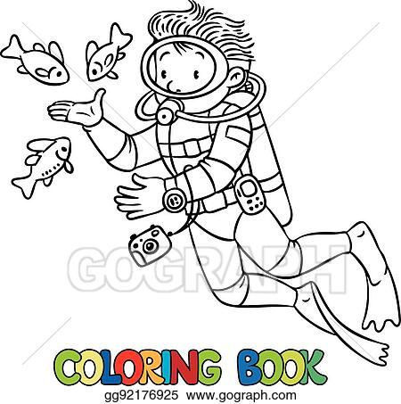 Vector Illustration - Funny oceanographer or diver. coloring book ...