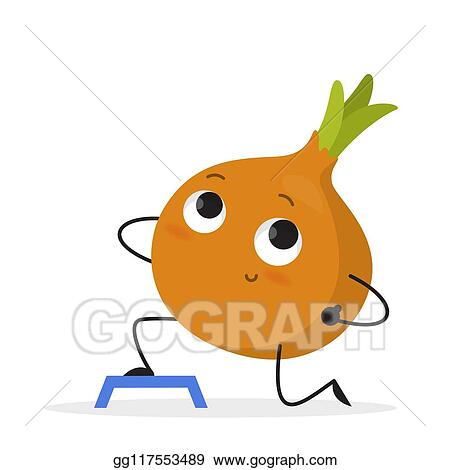 Eps Illustration Funny Onion Character Doing Sport Exercise In The Gym Vector Clipart Gg117553489 Gograph