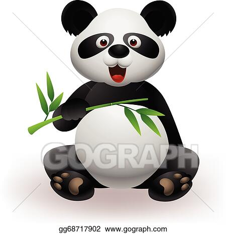 Vector Art Funny Panda With Bamboo Eps Clipart