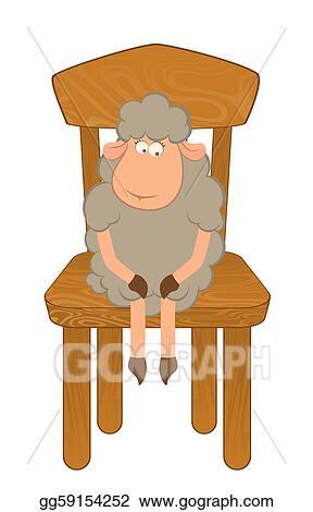 Sheep sitting. Stock illustration funny sad