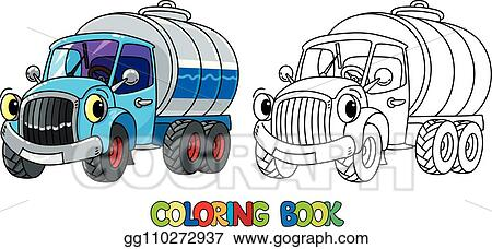 Vector Illustration - Funny small milk truck with eyes ...