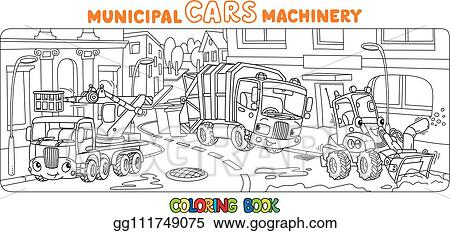 Vector Clipart Funny Small Municipal Cars With Eyes Coloring Book Vector Illustration Gg111749075 Gograph