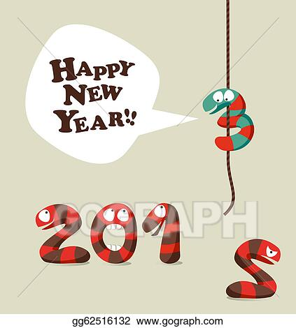 Vector Art - Funny snake happy new year 2013 greeting card. Clipart ...