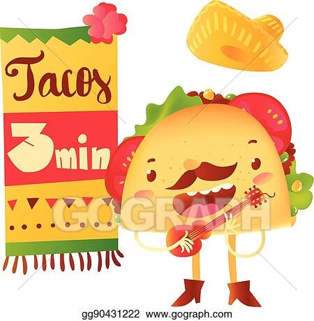 EPS Illustration - Funny taco character playing guitar, special ...