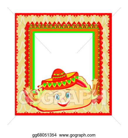 Eps Illustration Funny Tacos Character Mexican Frame Card