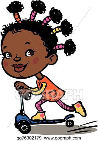 Vector Illustration - Funny vector cartoon black girl on ...