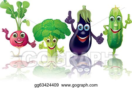 clip art vector funny vegetables radishes broccoli eggplant cucumber stock eps gg63424409 gograph https www gograph com clipart license summary gg63424409