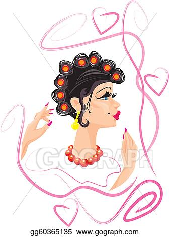 Vector Clipart Funny Woman Cartoon With Hair Vector Illustration Gg60365135 Gograph