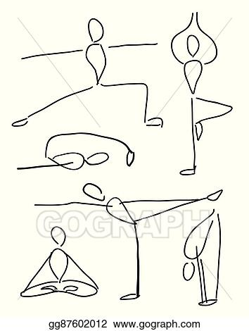 Eps Vector Funny Yoga Poses Stock Clipart Illustration Gg87602012 Gograph