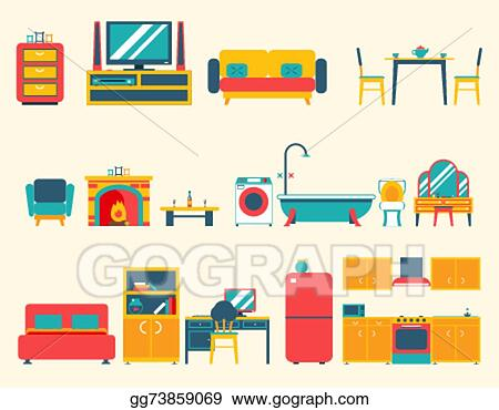 Vector stock furniture house interior icons and symbols for Interior house design clipart