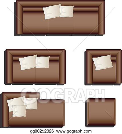Eps Illustration Furniture Top View Set 28 Vector Clipart