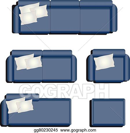 Vector Stock Furniture Top View Set 32 Stock Clip Art