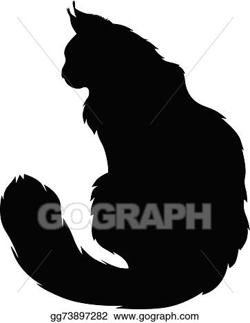 Vector Art Furry Cats Silhouette Eps Clipart Gg73897282