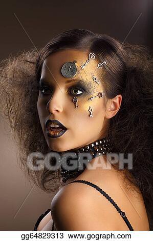 Stock Photos Futurism Bodyart Golden Painted Woman S