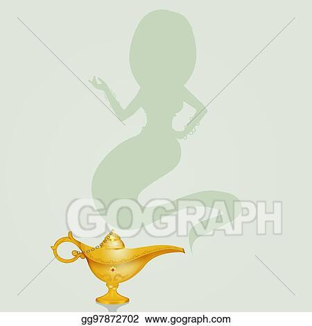 Illustrations Commerciales Genie Dans Les Lampe Magique Clip