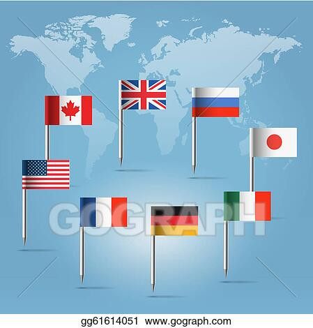 Clip art g8 flag pins over world map silhouette stock g8 flag pins over world map silhouette gumiabroncs Images