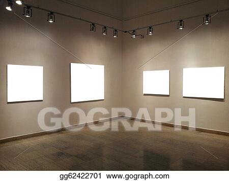 Clip Art - Gallery walls with blank frames. Stock Illustration ...