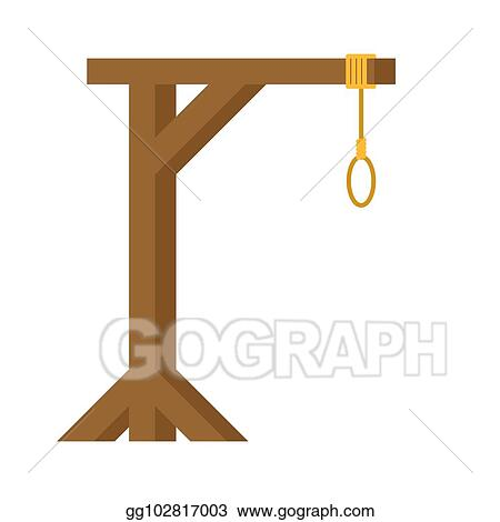 Vector Clipart Gallows Are Isolated Wooden Post And Loop Vector