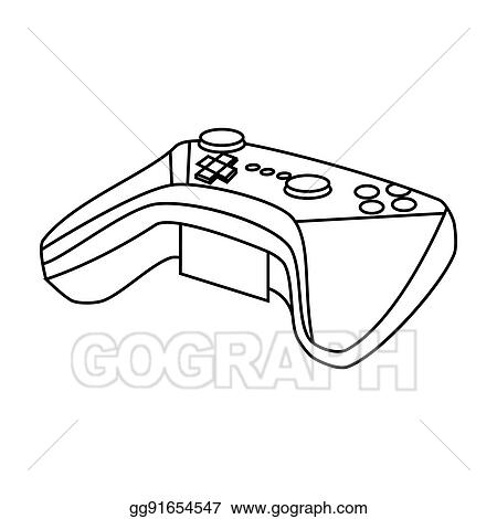 Drawing Game Controller For The Virtual Reality Icon In Outline - Game outline