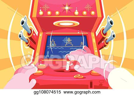 Clip Art Vector Gamer Playing Sea Battle Arcade Video Game